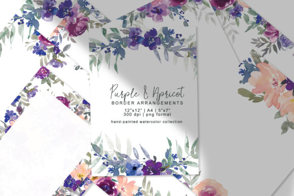Watercolor Floral Border Arrangement Set Graphic Backgrounds By Patishop Art