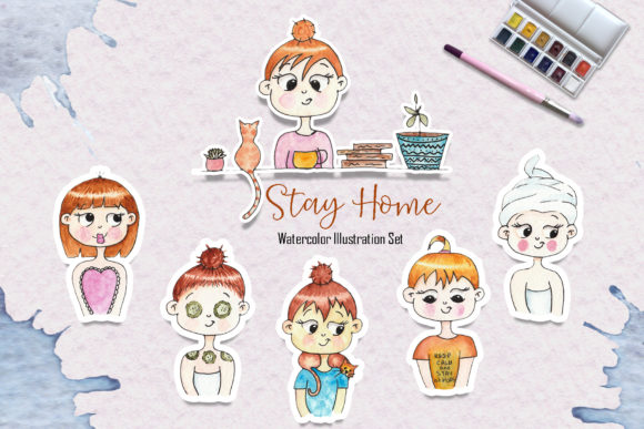 Download Free Watercolor Stay Home Girl Illustrations Graphic By Tanatadesign for Cricut Explore, Silhouette and other cutting machines.