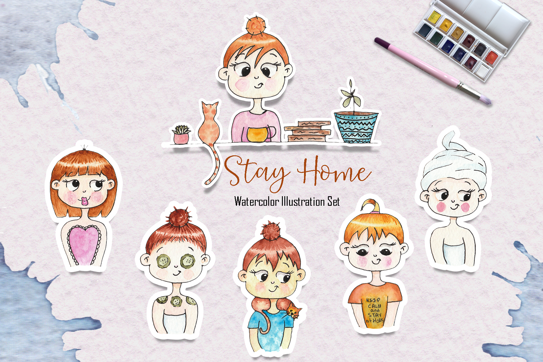 Download Free Watercolor Stay Home Girl Illustrations Grafico Por Tanatadesign for Cricut Explore, Silhouette and other cutting machines.