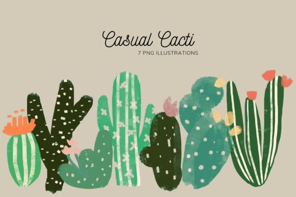 Download Free Set Of 7 Cactus Illustrations Graphic By Lunarctic Creative for Cricut Explore, Silhouette and other cutting machines.