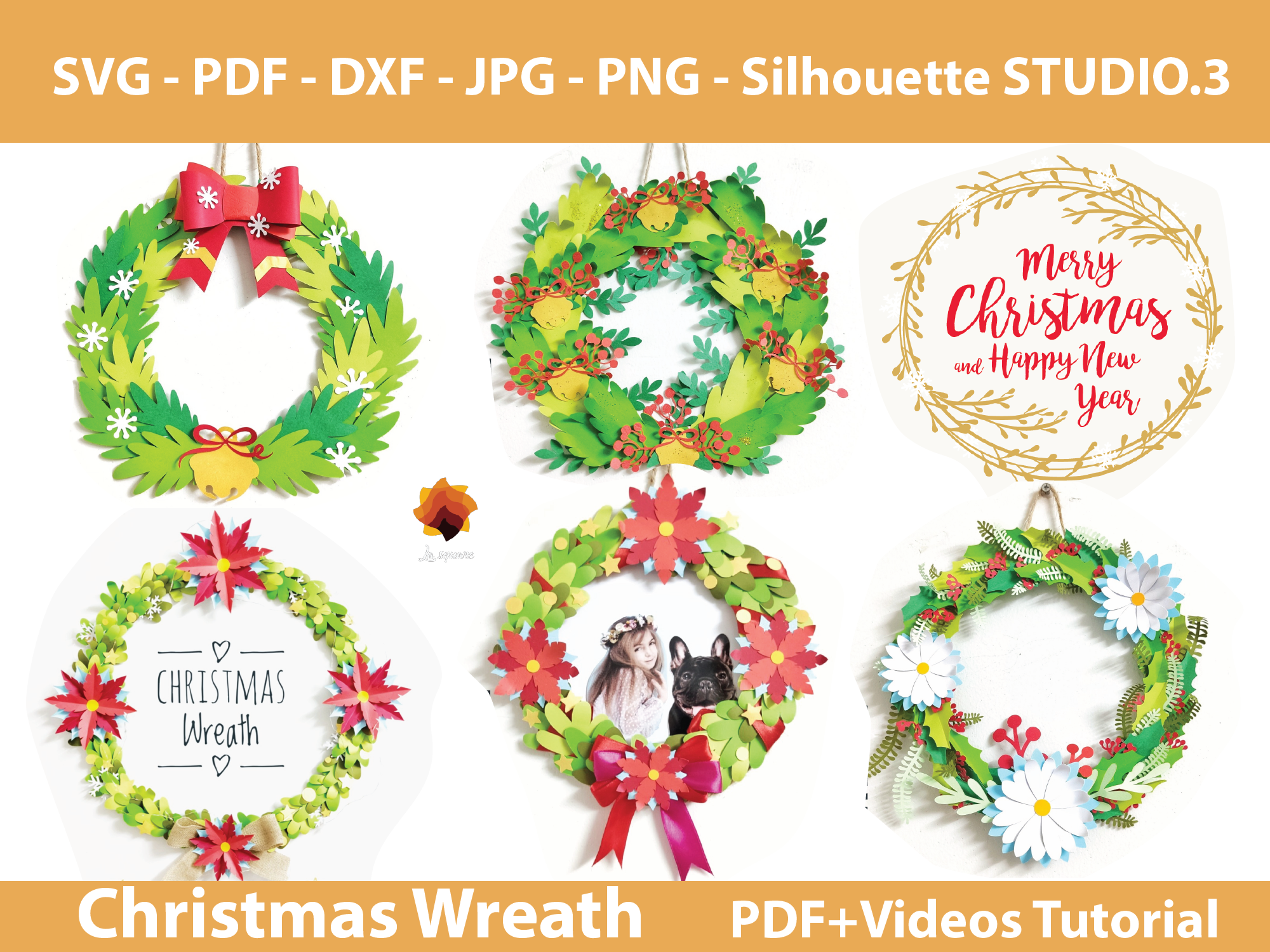 Download Free 06 Paper Christmas Wreath Templates Grafico Por Lasquare Info for Cricut Explore, Silhouette and other cutting machines.