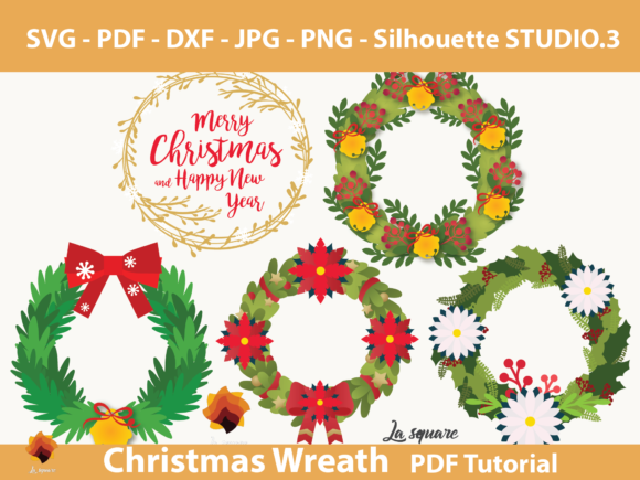 Download Free 06 Paper Christmas Wreath Templates Graphic By Lasquare Info for Cricut Explore, Silhouette and other cutting machines.