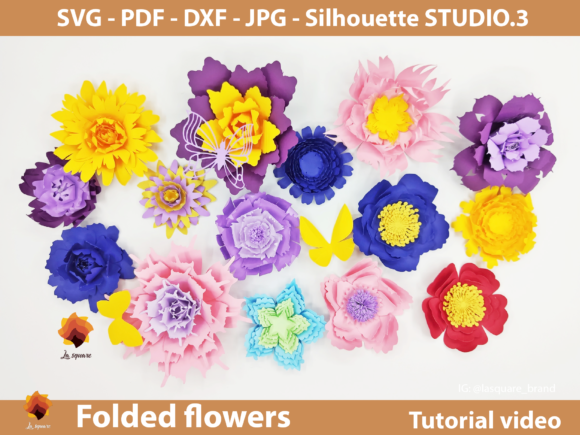 Download Free 15 Folded Paper Flowers Templates Graphic By Lasquare Info SVG Cut Files