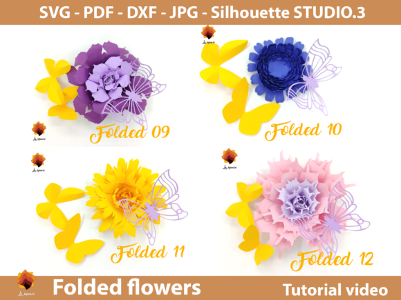 Download Free 15 Folded Paper Flowers Templates Graphic By Lasquare Info for Cricut Explore, Silhouette and other cutting machines.