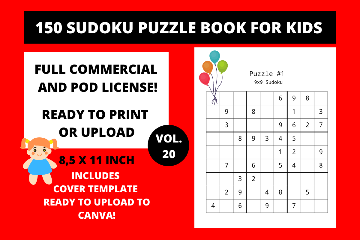 Download Free 150 Sudoku Puzzle Book For Kids Vol 20 Graphic By Fleur De Tango for Cricut Explore, Silhouette and other cutting machines.