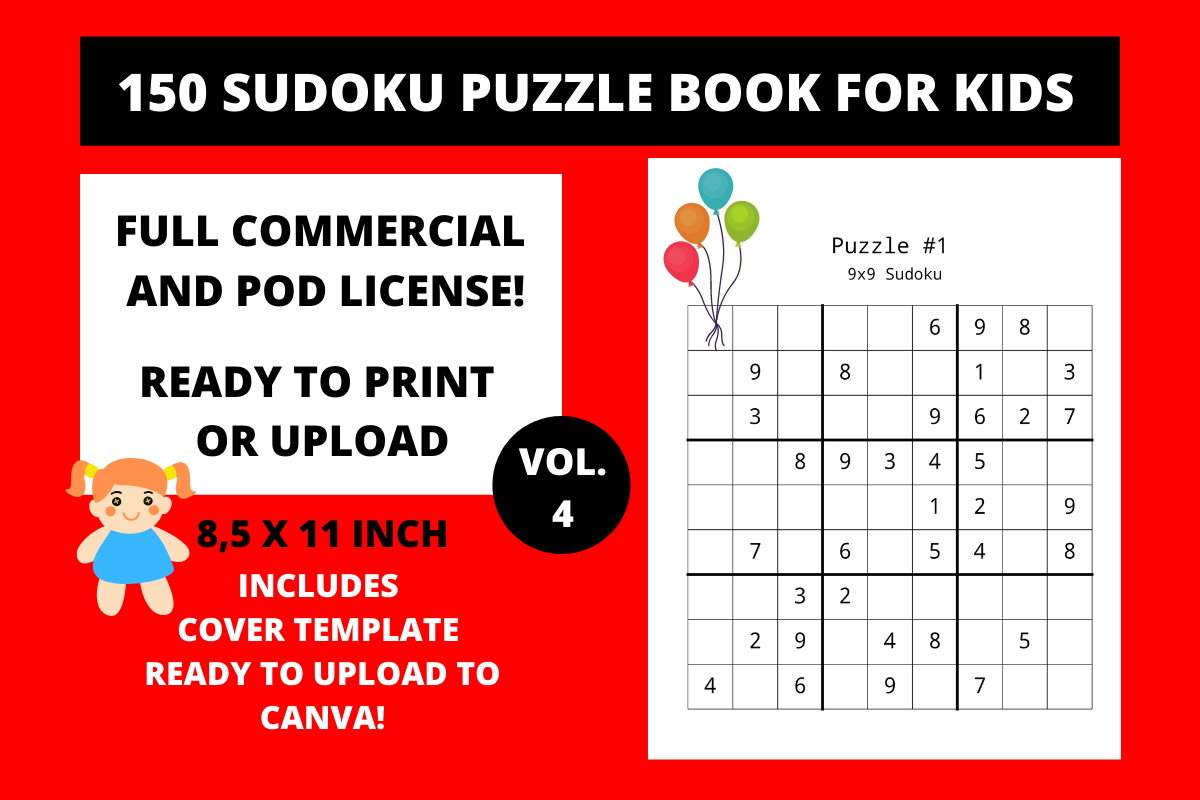 Download Free 150 Sudoku Puzzle Book For Kids Vol 4 Graphic By Fleur De Tango for Cricut Explore, Silhouette and other cutting machines.