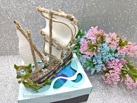Download Free 3d Simple Ship Template Graphic By Lasquare Info Creative Fabrica for Cricut Explore, Silhouette and other cutting machines.