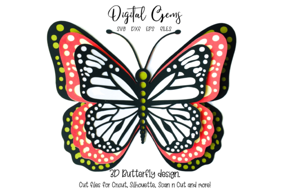 Download Free 3d Butterfly Design Grafico Por Digital Gems Creative Fabrica for Cricut Explore, Silhouette and other cutting machines.
