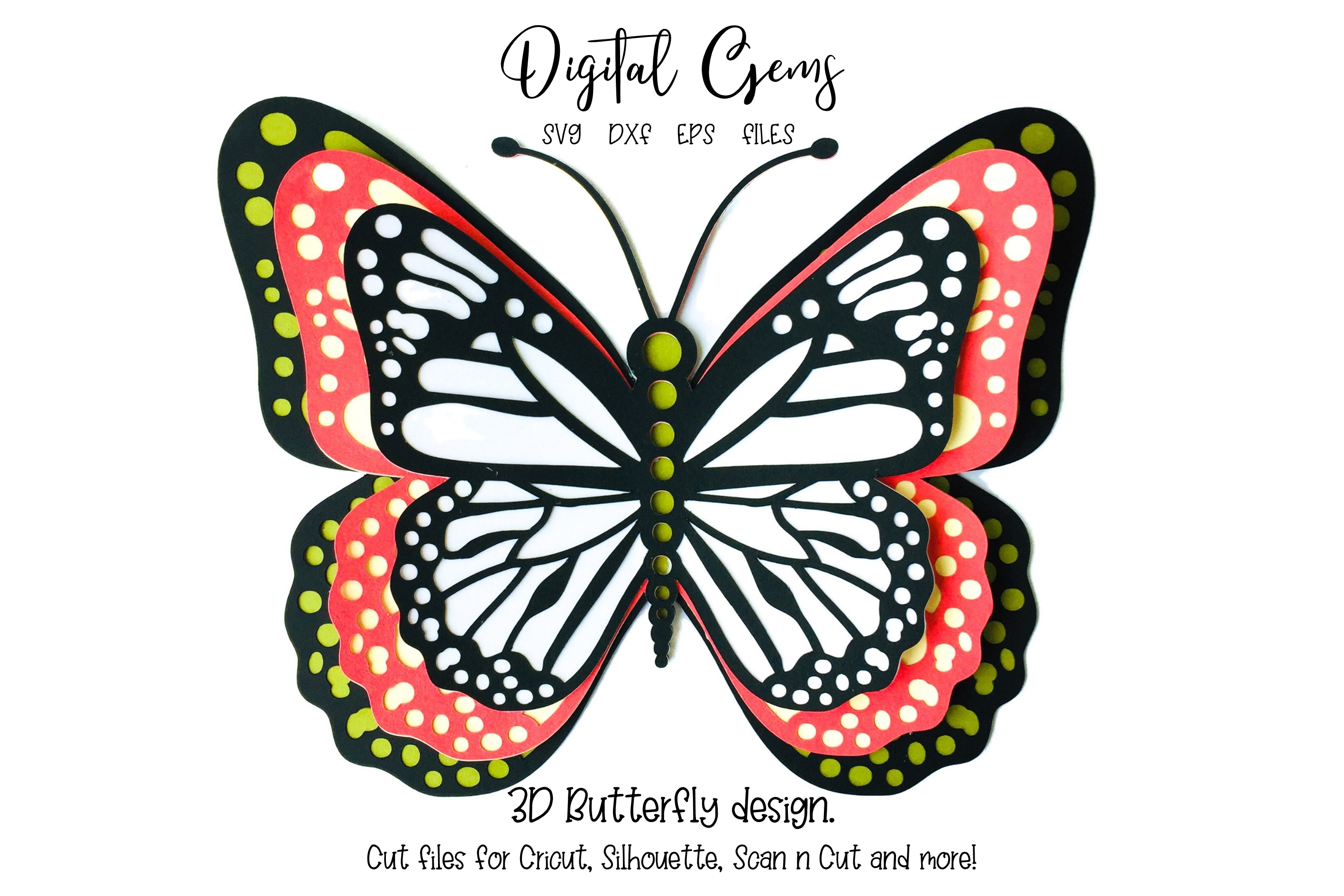 Download Free 3d Butterfly Design Graphic By Digital Gems Creative Fabrica for Cricut Explore, Silhouette and other cutting machines.