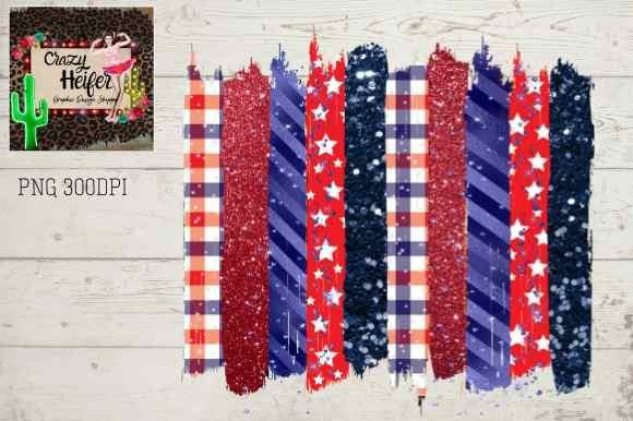 Print on Demand: 4th of July Patriotic Brush Stroke  Graphic Backgrounds By Crazy Heifer Design Shoppe