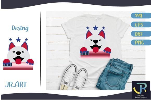 4th of July Dog Graphic Illustrations By Juan Rojas Peguero