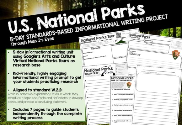 5-Day Writing Unit: U.S. National Parks Graphic 2nd grade By Through Miss I's Eyes
