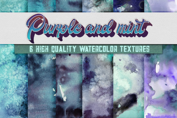 Print on Demand: 6 Purple and Mint Watercolor Textures Graphic Backgrounds By WaterflowArt