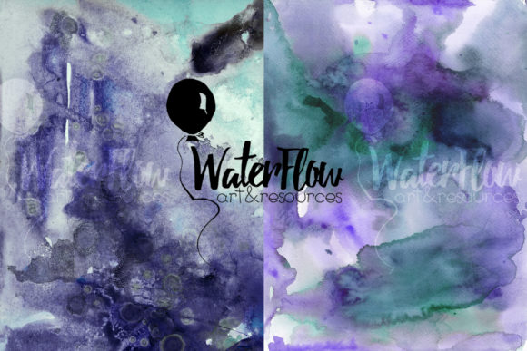 Download Free 6 Purple And Mint Watercolor Textures Graphic By Waterflowart SVG Cut Files