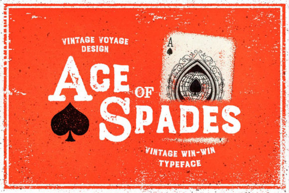 Print on Demand: Ace of Spades Sans Serif Font By vintagevoyageco