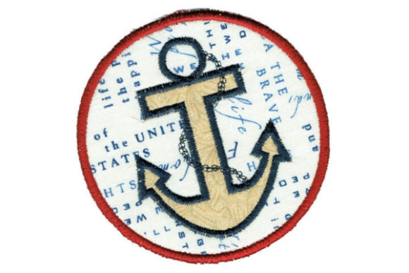 Anchor Round Coaster Beach & Nautical Embroidery Design By Sue O'Very Designs