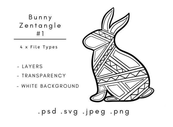 Download Free Animal Zentangles Bunny Rabbit Graphic By Linnypig Designs for Cricut Explore, Silhouette and other cutting machines.