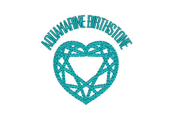 Aquamarine Birthstone Faceted Heart Birthdays Embroidery Design By Sun At Night Studios