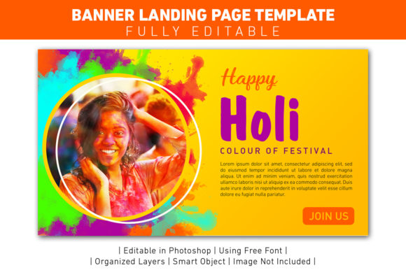 Banner Landing Page Festival Holi Graphic Web Templates By ant project template