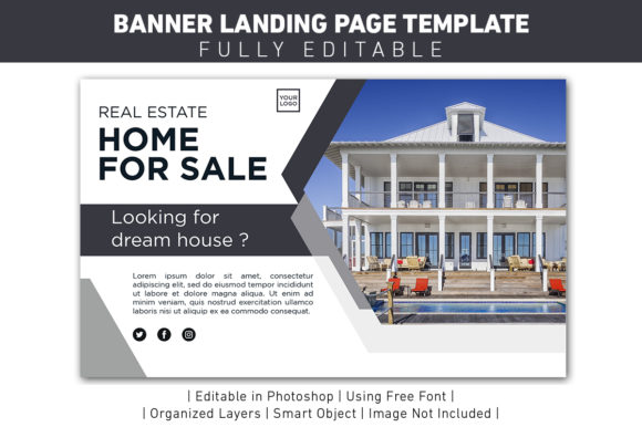 Download Free Banner Landing Page Home Sale Graphic By Ant Project Template for Cricut Explore, Silhouette and other cutting machines.