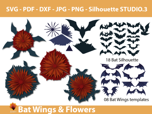 Download Free Bat Wings Halloween Flower Template Graphic By Lasquare Info for Cricut Explore, Silhouette and other cutting machines.