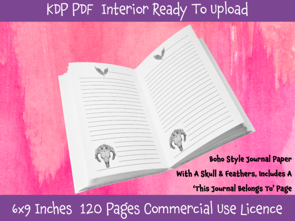 Print on Demand: Boho Style Journal Paper Ready KDP Graphic KDP Interiors By POD Emporium