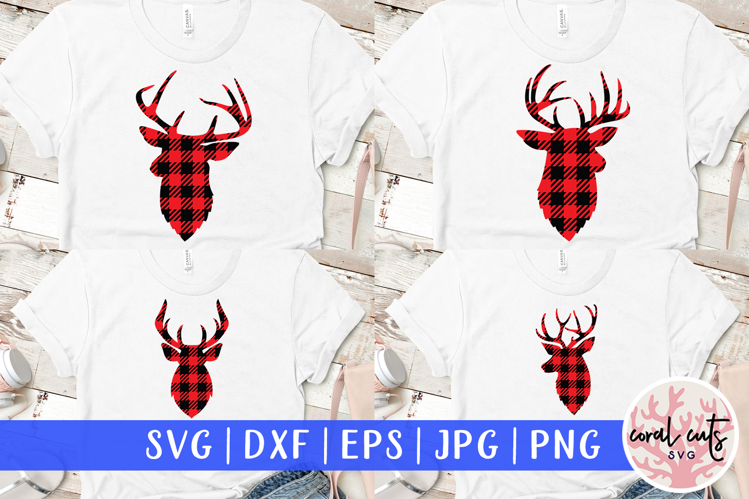 Download Free Buffalo Plaid Deer Graphic By Coralcutssvg Creative Fabrica for Cricut Explore, Silhouette and other cutting machines.