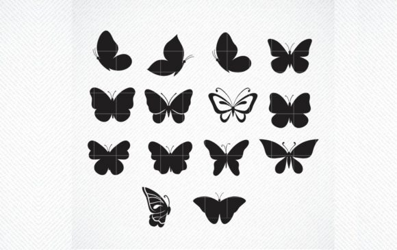 Print on Demand: Butterfly Silhouette, Butterflies Graphic Crafts By SVG DEN