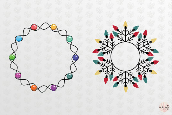 Download Free Christmas Light Monogram Graphic By Coralcutssvg Creative Fabrica for Cricut Explore, Silhouette and other cutting machines.