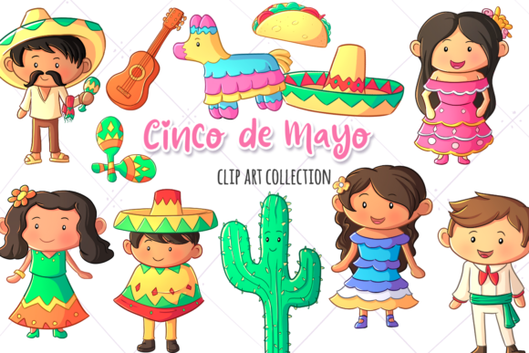 Download Free Cinco De Mayo Clip Art Collection Graphic By for Cricut Explore, Silhouette and other cutting machines.