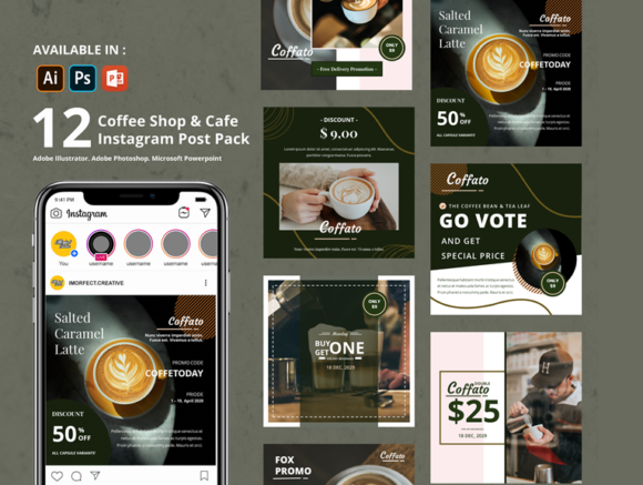 Download Free Coffee Shop Instagram Template Graphic By Imorfect Creative SVG Cut Files