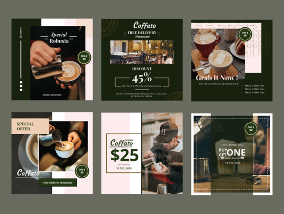 Download Free Coffee Shop Instagram Template Graphic By Imorfect Creative for Cricut Explore, Silhouette and other cutting machines.