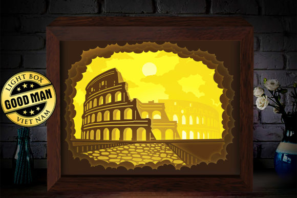 Download Free Colosseum 1 3d Paper Cutting Light Box Graphic By for Cricut Explore, Silhouette and other cutting machines.