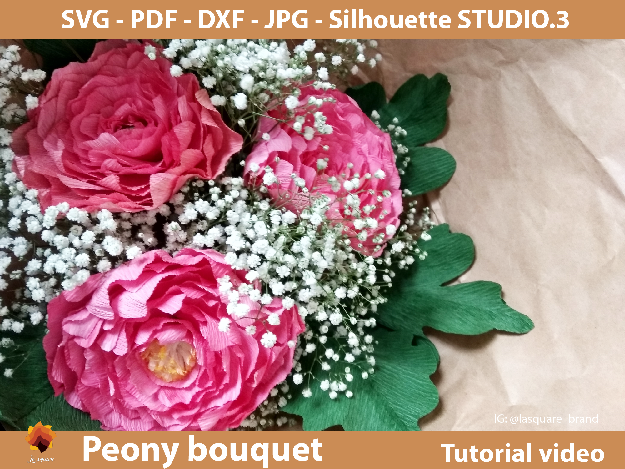 Download Free Crepe Peony Bouquet Template Graphic By Lasquare Info Creative for Cricut Explore, Silhouette and other cutting machines.