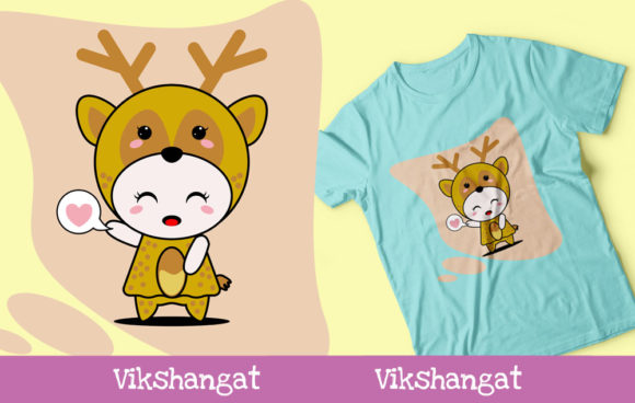 Download Free Cute Deer Character Animal Mascot Graphic By Vikshangat for Cricut Explore, Silhouette and other cutting machines.