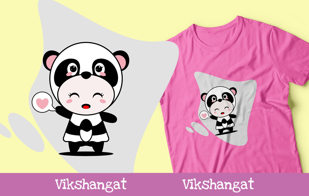 Download Free Cute Panda Character Animal Mascot Graphic By Vikshangat for Cricut Explore, Silhouette and other cutting machines.