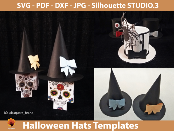 Download Free Diy Halloween Paper Hats Graphic By Lasquare Info Creative Fabrica for Cricut Explore, Silhouette and other cutting machines.