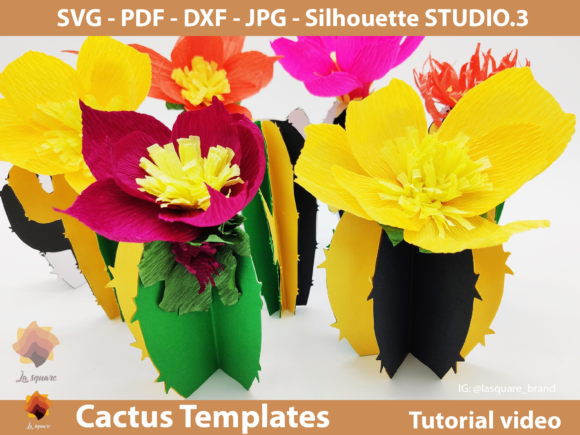 Download Free Diy Paper Cactus Templates Graphic By Lasquare Info Creative for Cricut Explore, Silhouette and other cutting machines.
