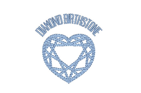 Diamond Birthstone Faceted Heart Birthdays Embroidery Design By Sun At Night Studios