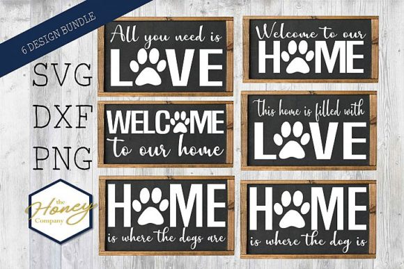 Download Free Dog Bundle Home Love Signs Graphic By The Honey Company for Cricut Explore, Silhouette and other cutting machines.