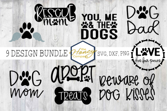 Download Free Dog Bundle Rescue Mom Dad Graphic By The Honey Company Creative Fabrica for Cricut Explore, Silhouette and other cutting machines.