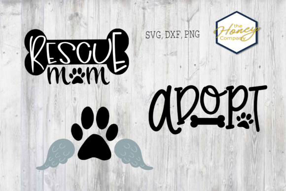 Download Free Dog Bundle Rescue Mom Dad Graphic By The Honey Company for Cricut Explore, Silhouette and other cutting machines.