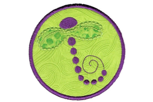 Dragonfly Round Coaster Bugs & Insects Embroidery Design By Sue O'Very Designs