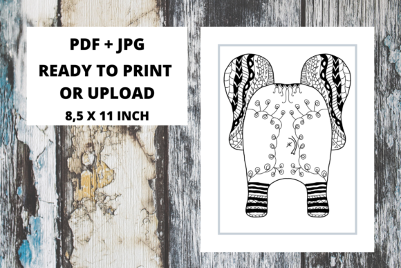 Print on Demand: Elephant Butt Zentangle 02 Graphic Coloring Pages & Books Adults By Fleur de Tango