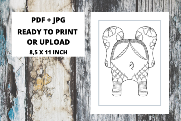 Print on Demand: Elephant Butt Zentangle Coloring Page 03 Graphic Coloring Pages & Books Adults By Fleur de Tango