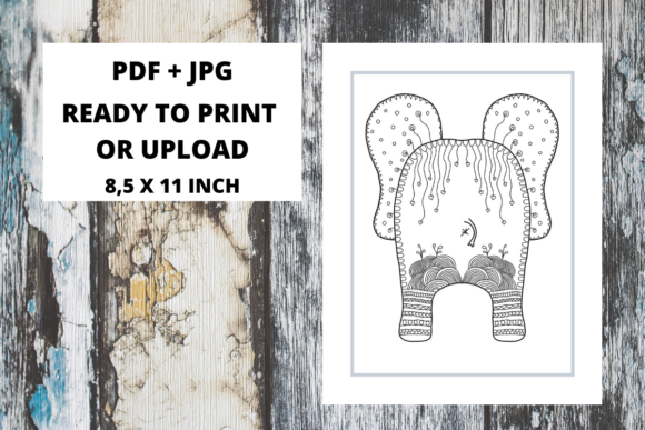 Print on Demand: Elephant Butt Zentangle Coloring Page 04 Graphic Coloring Pages & Books Adults By Fleur de Tango