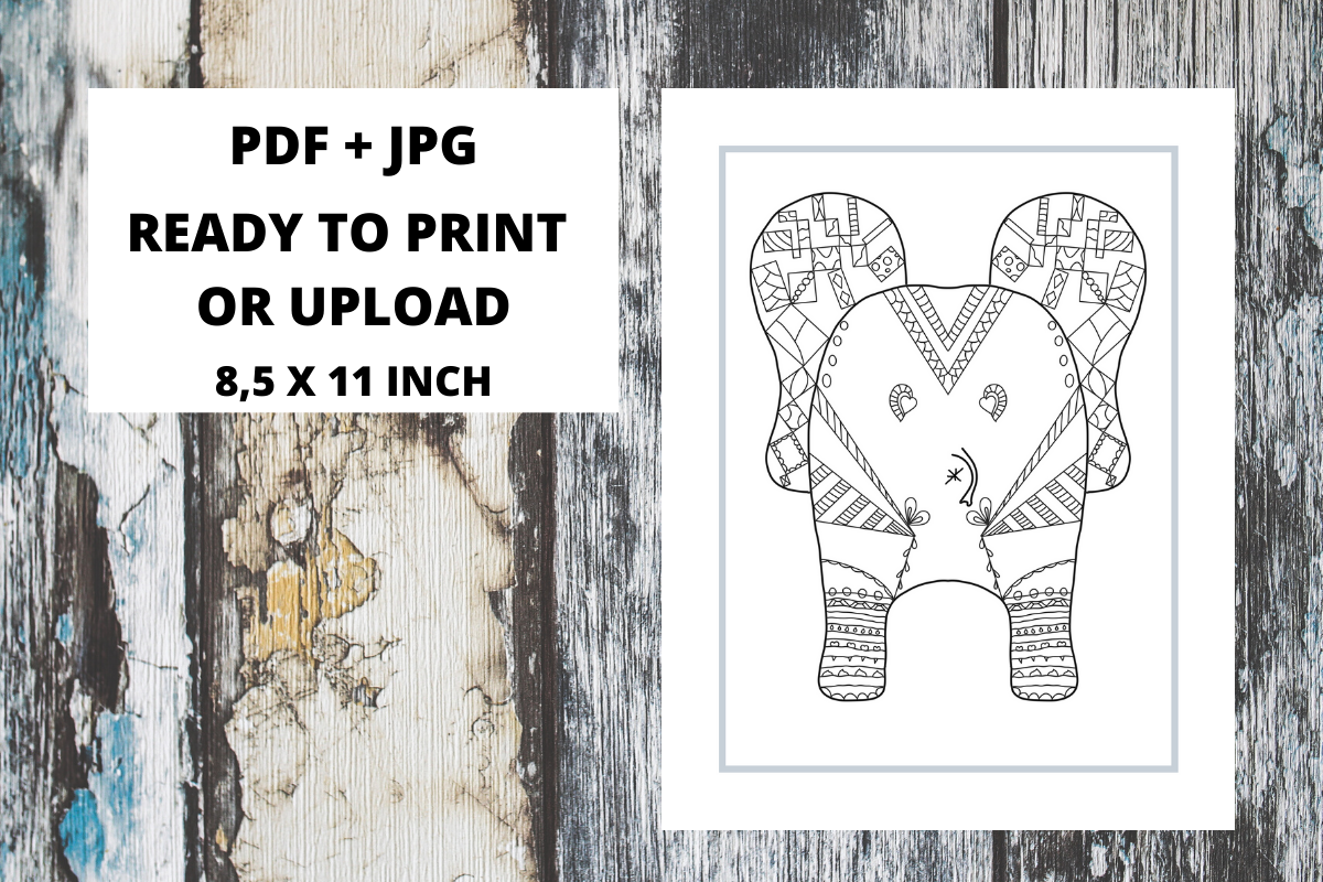 Download Free Elephant Butt Zentangle Coloring Page 06 Graphic By Fleur De for Cricut Explore, Silhouette and other cutting machines.
