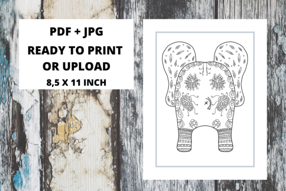 Print on Demand: Elephant Butt Zentangle Coloring Page 07 Graphic Coloring Pages & Books Adults By Fleur de Tango