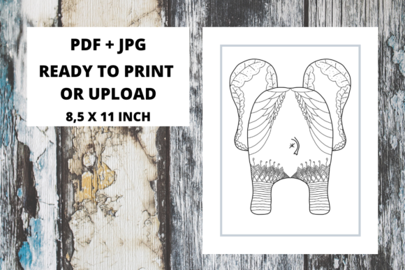 Print on Demand: Elephant Butt Zentangle Coloring Page 08 Graphic Coloring Pages & Books Adults By Fleur de Tango