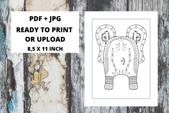 Print on Demand: Elephant Butt Zentangle Coloring Page 09 Graphic Coloring Pages & Books Adults By Fleur de Tango